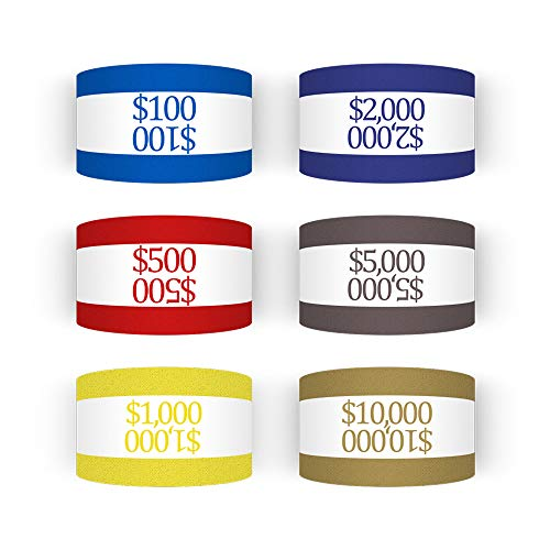 300 Assorted Currency Straps Self Sealing Blank White Currency Bundles Bands Money Bill Band Strap 7.5 x 1.25 Inches (300 Assorted, 50 of Each Colors)