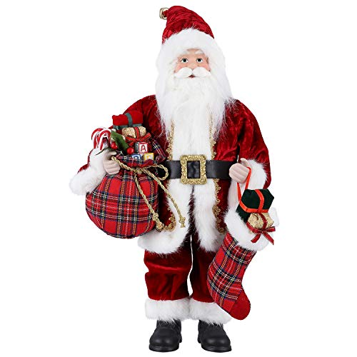 himaly Santa Claus Figure, Standing Christmas Figure Traditional Deluxe Father with Gift Sack Holiday/Party/Home Decoration (45cm /18in)