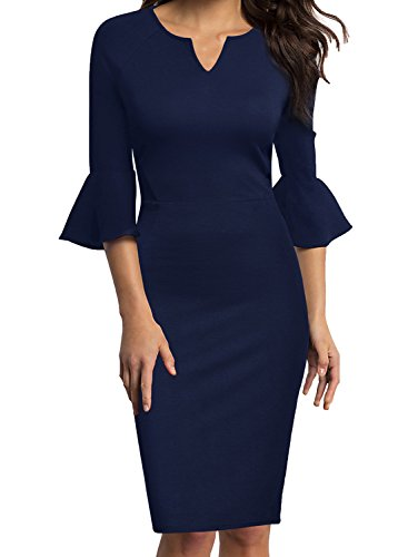 WOOSUNZE Womens Flounce Bell Sleeve Office Work Casual Pencil Dress (Navy Blue, Large)