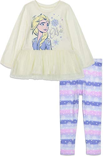 Disney Frozen Elsa Little Girls Long Sleeve Shirt Leggings Set White 10 product image