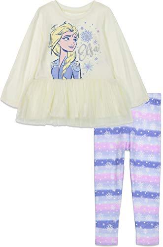 Disney Frozen Elsa Toddler Girls Long Sleeve Shirt & Leggings Set White 3T