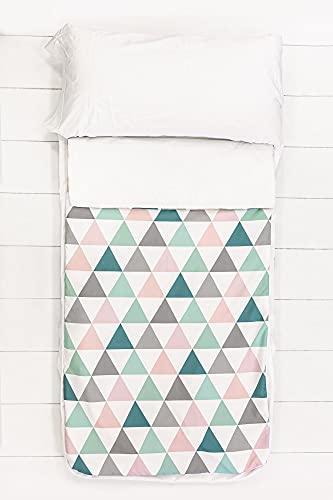 SOKIOS Saco Nórdico Pirineos 96 para Cama de 90x200 con Alegre Estampado de Triángulos Multi-Color. Saco para Niños Confort. Saco Infantil + Funda Almohada + Sábana Bajera