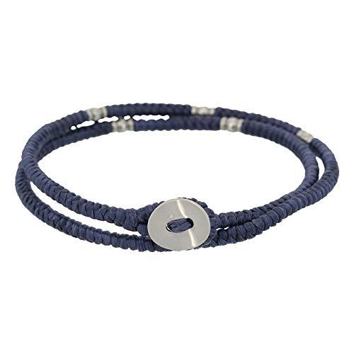 Pulsera para hombre con doble cordón, perlas y botón plateado