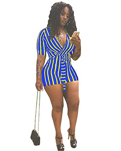Mintsnow Women's Summer Romper Boho Playsuit African Print Jumpsuits Beach Outfits