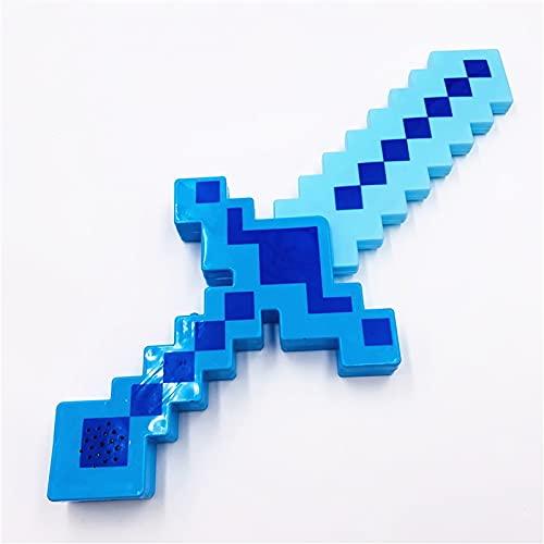 JYMEI Espada Laser,Espada/Pico/Hacha de Plástico con Forma de Diamante,con auténticos Sonidos de Minecraft y acción de Luces,Accesorios de Armas para niños (Verde/Azul/Rojo)