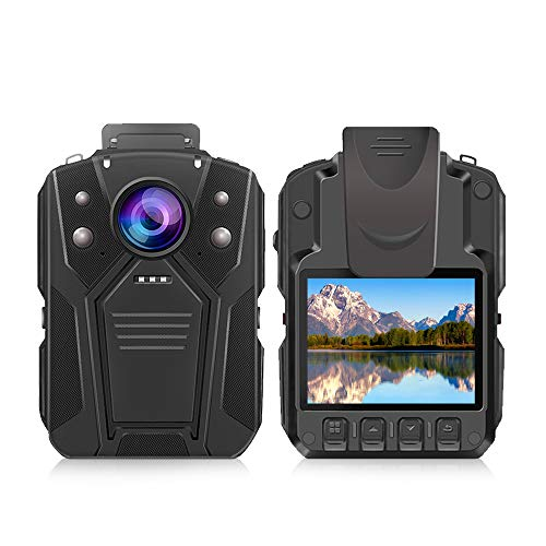 Fotocamera corpo CAMMHD HD 1296P fotocamera della polizia, due batterie, con visione notturna a infrarossi, 36 milioni di pixel, registratore impermeabile, fotocamera indossabile, 32GB