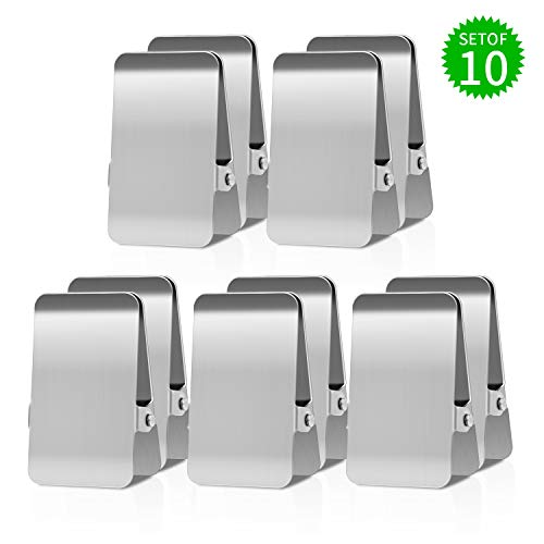 Stainless Steel Chip Clips Office Clamp Heavy Duty Air Tight Seal Grip Clips 3 Wide 10 Pcs