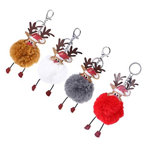 LUOEM 4pcs Weihnachten Schlüsselanhänger Plüsch Elch Pompom Anhänger Weihnachtselch Figuren Plüsch Rentier Geschenk Handtasche Schlüssel Auto Rucksack Dekoration Khaki Weiß Rot Dunkelgrau
