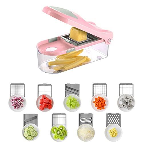 LSNLNN Choppers,Manual Slicer Vegetable Sticer Cutter, 16-Piece Set Food Chopper Cutter Onion Slicer Dicer, Veggie Slicer for Garlic, Cabbage, Carrot, Potato, Fruit, Salad,Pink