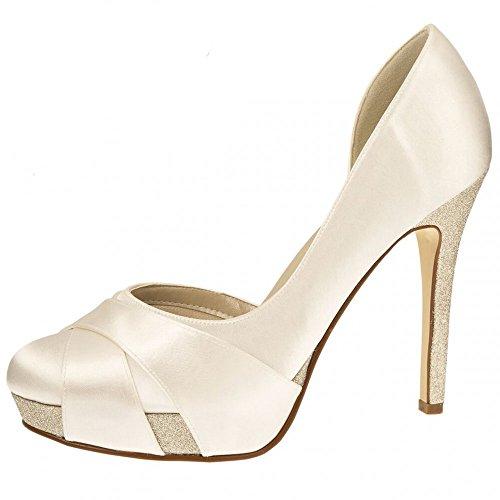 Brautschuhe Kelis von Rainbow/Pumps High Heels mit Glitter/Satin, Creme, Gr. 39,5 (6,5)