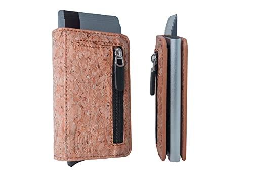 Holzwurm Kartenetui Kartenhalter aus Kork/ Kreditkartenetui Mini Wallet mit Münzfach/ Slim Wallet Geldbörse/ Geldbeutel für Karten & Scheine/ Mini Portmonee/ RFID Schutz