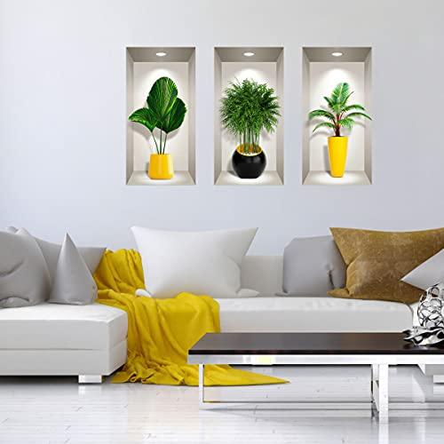 Adhesivos 3D   Adhesivo de pared con efecto 3D de plantas tropicales – Pegatinas de pared para dormitorio adulto – Pegatinas de pared 3D – Decoración de salón – 80 x 120 cm