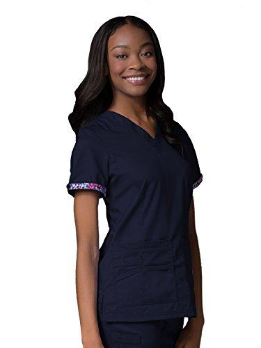 Maevn Women's PrimaFlex Inner Beauty V-Neck Top(True Navy, Medium)