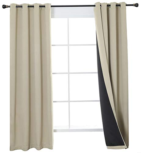 Aquazolax 100% Blackout Curtains Short, 2 Thick Layers Completely Blackout Window Treatment Thermal Insulated Drapes for Kids Bedroom, 2 Panels, 52 by 45-inch, Warm Beige