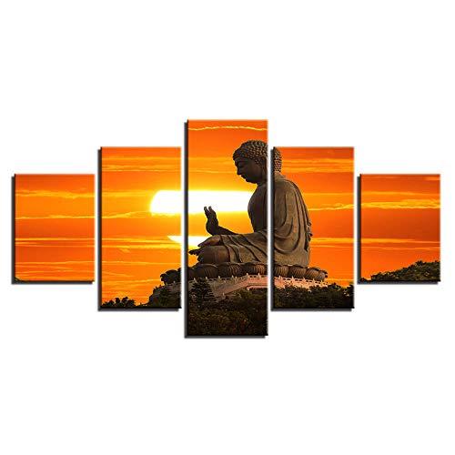 Murturall 5 Stück Drucke auf Leinwand,Sonnenuntergang Buddha Statue,150x80 cm, Leinwand Gemälde Moderne Wandkunst Bilder Wohnkultur Poster