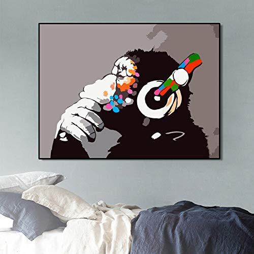 KWzEQ Arte Animal Cartel Pintado sobre Lienzo Mono Abstracto Escuchar Imagen Musical,Pintura sin Marco,75x107cm