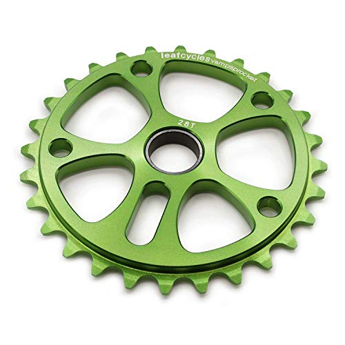 Leafcycles Dirtjumping & BMX Kettenblatt aus 7075 Aluminium 28 Zähne, grün