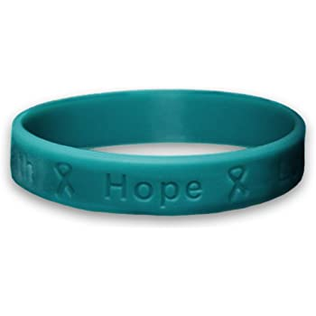 Amazon Com Fundraising For A Cause Ovarian Cancer Awareness Teal Ribbon Stretch Bracelet In A Bag 1 Bracelet Retail Jewelry