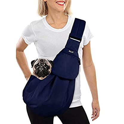 Nasjac Small Dog Puppy Sling Carrier, Hands Free Cat Sling Carry Dog Papoose Carrier Tote Bag with Pocket Safety Belt Adjustable Padded Shoulder Puppy Bag Sling for Daily Walking 1
