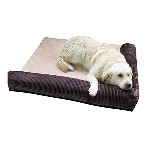 IAOHUO Deluxe Orthopedic Dog Bed, Removable Pet Bed L Shaped Pet Sofa,Corduroy Pet Nest Pet Supplies Non Slip Breathable Kennel Nest Bed,for Dogs & Cats (Color : Brown, Size : XL(110x95x20cm))
