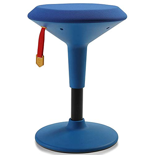 Adjustable Wobble Chair for Kids - Ergonomic Wobble Stool to Encourage Right Posture, Balance & Strengthen Core - School Classroom - Active Kid ADHD Fidget Seat (Blue Fabric - Blue Frame)