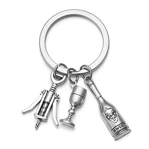 JOVIVI Mens Keychain Silver Wine...