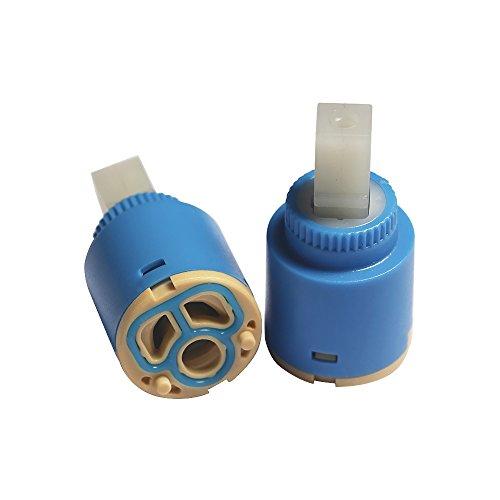 Cartucho de cerámica de repuesto para grifo – 2 unidades de 25 mm/35 mm/40 mm - Cartucho mezclador para agua fría y caliente dividido en tres agujeros, cerámica, 25 mm
