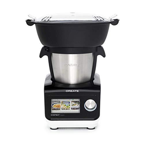 IKOHS Robot de Cocina Multifunción CHEFBOT Touch. 23 Funciones, 12 Velocidades con Turbo, WiFi, hasta 120ºC, Programable, Libre BPA, Recetas Preinstaladas (Pantalla táctil + vaporera - Black & White)