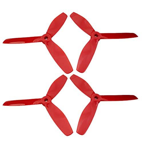 FLAMEER Hélice Props de Tres Hojas para MJX B6 B6W B6F B6FD B8 B5W F20 B8 Pro Bugs 6 Partes (4 pcs / 12 pcs para Selección) - Rojo (4 Piezas)