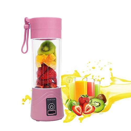 Verdelife Spremiagrumi Portatile Usb Elettrico Spremiagrumi Frullatore Shaker Bottiglia, Ricaricabile, 380 Ml (Rosa)