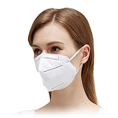 Disposable Face Mask with 95% Filtration | 5 Layer Safety Mask with Adjustable Nose Bridge & Comfort Ear Loops | Lightweight and Foldable Bulk Masks for Work & School (10) by Hubei