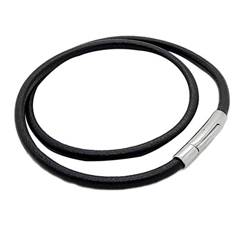 CHENGTAO 3/4 Mm For Mujer For Hombre Negro Ronda De La Cuerda del Cuero Genuino De Acero Inoxidable Asegure La Cadena De Cierre Collar (Metal Color : 4mm 28inch or 71cm)