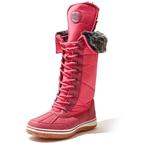 Women's DailyShoes Knee High 2-Tone Lace Up Décor Zipper Cowboy Warm Fur Water Resistant Eskimo Snow Boots,Hot Pink Nylon size 12
