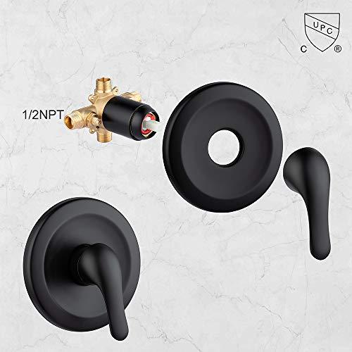 JAKARDA Shower Tub and Shower Trim Kit with 6-Spray Shower Head, cUPC Shower Faucet Set Valve Included (Matte Black)