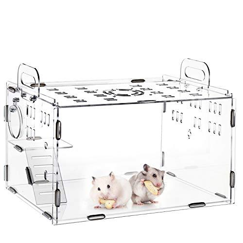 AKOZLIN 小動物用ケージ 透明 40*30*25cm ハムスターケージ ハムスターハウス 広々タイプ 通気 クリア 持ち運びやすい