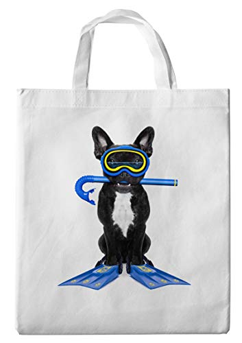 Merchandise for Fans boodschappentas - 38 x 42 cm, 8 liter - Thema: Franse buldog met duikbril, snorkel en vinnen - 28