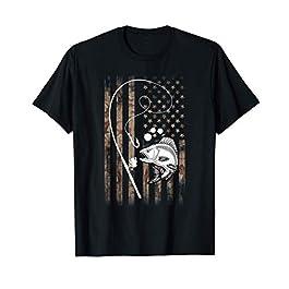 Drapeau USA Poisson Carpe Canne À Pêche Cadeau Pour Pêcheur T-Shirt