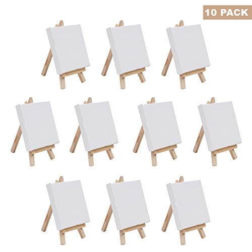 BELLE VOUS Mini paneles de lona Arte con juego de caballete de madera - (Paquete de 10) - Lienzo (10x10cm) Caballete (14.5 cm) - Caballete de madera con lienzo en blanco para pintura y manualidades