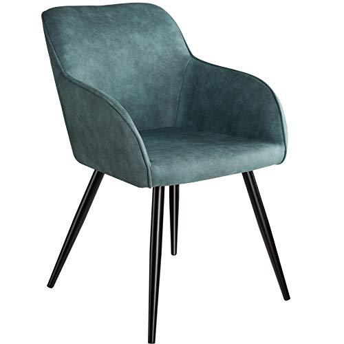 TecTake 800846 Esszimmerstuhl mit Armlehnen, gepolsterte Stoff Sitzfläche, Schwarze Metallbeine, für Wohnzimmer, Esszimmer, Küche und Büro (Blau)