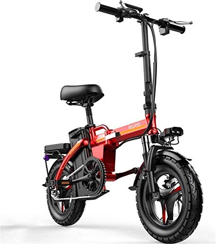 RDJM Bciclette Elettriche Biciclette Veloce elettrici for Adulti Portatile Pieghevole elettrica Ibrida Bici Adulta della Bicicletta 48V Rimovibile agli ioni di Litio da 400W Motore da 14 Pollici Bici