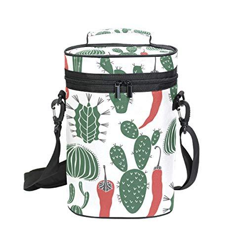 DEZIRO Cactus en Chili Patroon Premium Geïsoleerde 2 flessen wijn Tote wijn draagtas met schouder riem gewatteerde bescherming, wijn reizen koeler tas