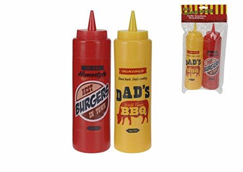 Set van 2 375ml Ketchup Mosterd Gemakkelijk Knijp Saus Dispenser Condiment Fles