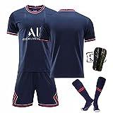 GYLMXF 21-22 Camiseta de fútbol Local/Visitante No.7# Mbappé # No.10 Neymar # No.11 Di María Conjunto de Camiseta de Manga Corta para Camiseta de fútbol para Adultos y niños
