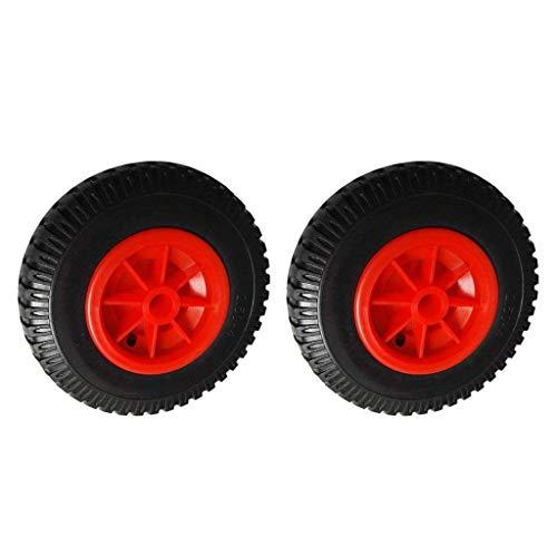 2 piezas 25,4 cm 22,35 mm Neumático negro de repuesto a prueba de pinchazos en rueda roja para kayak canoa Trolley/Carrier/Jockey