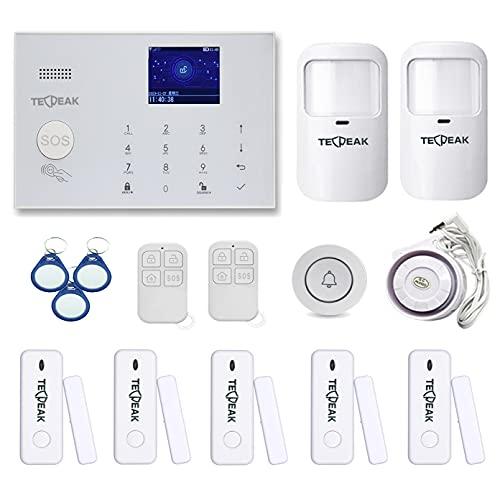 WiFi/gsm Sistema de Seguridad,TecPeak Kit de Seguridad y Alarma Hogar con 120dB Sirena para Proteger su hogar y Oficina (A2)