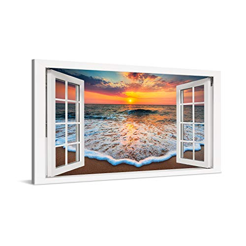 PICANOVA – Cuadro sobre Lienzo Sea Sunset Window 100x50cm – Impresión En Lienzo Montado sobre Marco De Madera (2cm) – Disponible En Varios Tamaños – Colección Playas