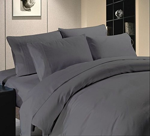 Scala Luxuries Cotton Egyptian Cotton - 500 TC Bed Sheet Set Queen Size Solid Elephant Gray