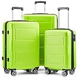 Juego de maletas de viaje con ruedas, maletas de mano, ligeras, rígidas, maletas de viaje, 4 ruedas, con bloqueo TSA y...