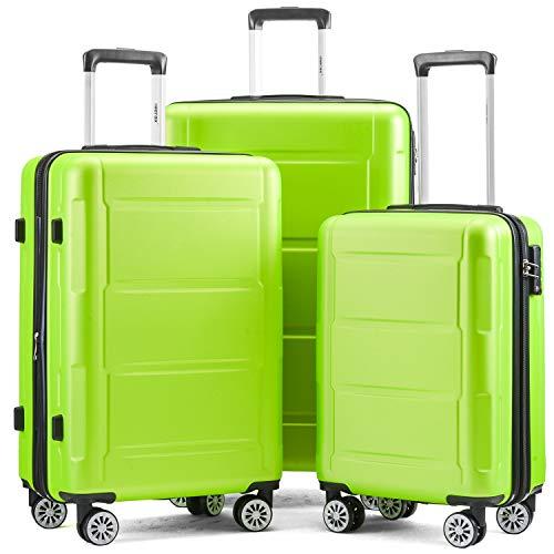 Juego de maletas de viaje con ruedas, maletas de mano, ligeras, rígidas, maletas de viaje, 4 ruedas, con bloqueo TSA y asas, mango telescópico, color negro
