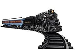 "This year showcase the magic of Christmas with the iconic Polar Express train set. Dimensions: 50"" x 73.2"" oval of Ready-to-Play track. 24 pieces of curved and 8 straight plastic track pieces. Fixed knuckle couplers. Remote Control: Buttons allow tra..."